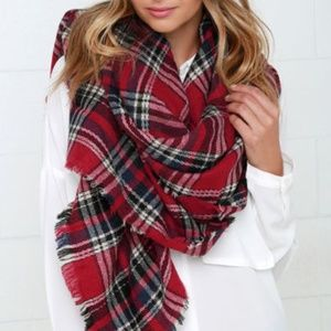 Accessories - Plaid Blanket Scarf Red Plaid New